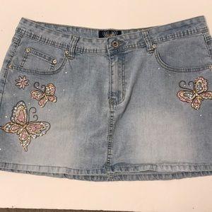 Angels Blue Jean Butterfly Denim Mini Skirt